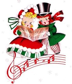 Victorian Christmas Carolers Clipart   Happy Holidays.
