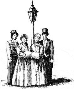 Caroling clipart victorian, Caroling victorian Transparent.