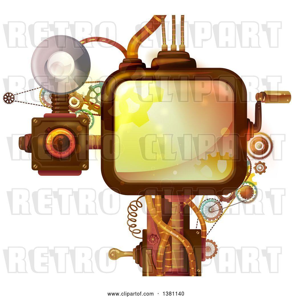 Vector Clip Art of Retro Steampunk Screen with a Crank.