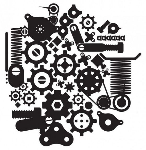 Cranks,springs and gears vector silhouettes.