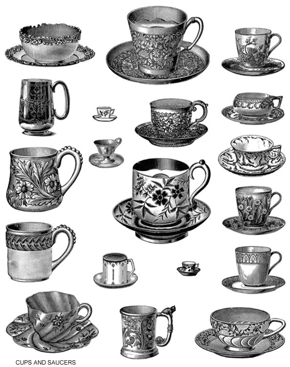 Vintage Tea Cup Black And White Clipart.