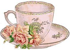 Vintage Tea Cup Clipart.