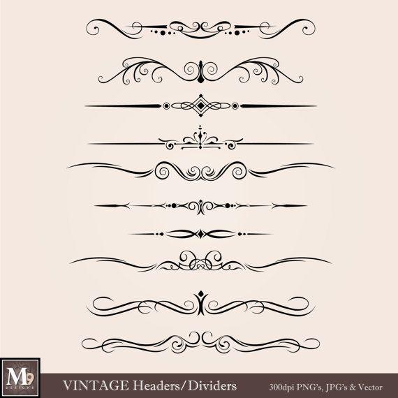 VINTAGE Header Clip Art: Vintage Accent Clipart Design.
