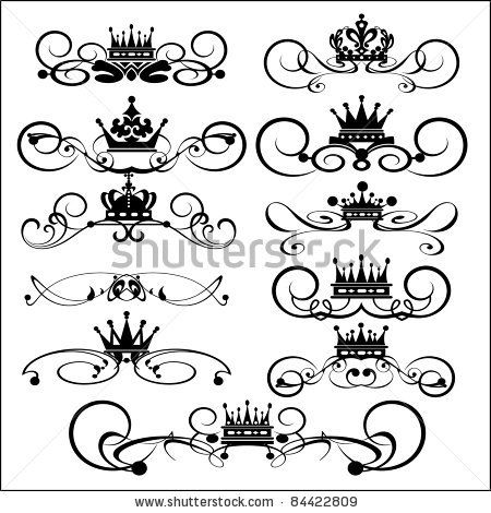 Vector set. Decorative Dividers. Victorian Scrolls and crown.