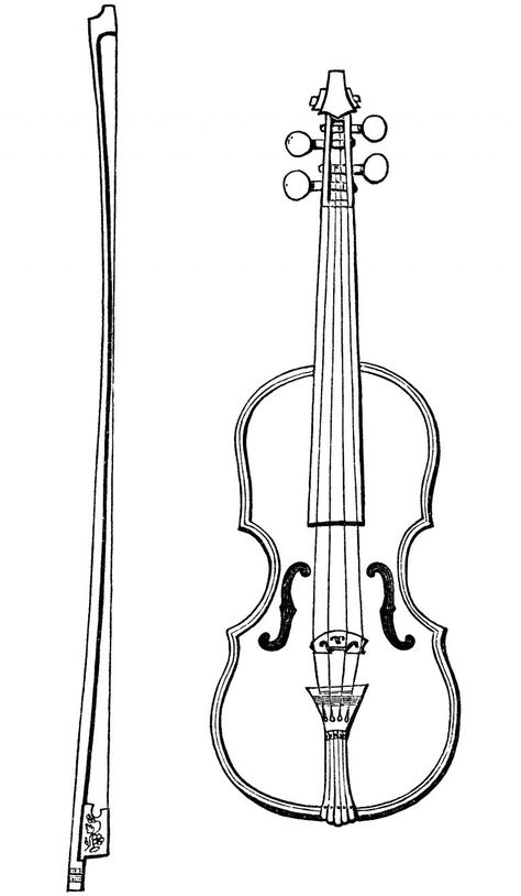 Free vintage violin and bow clip art illustration.