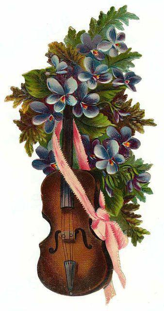 Violin with violets..