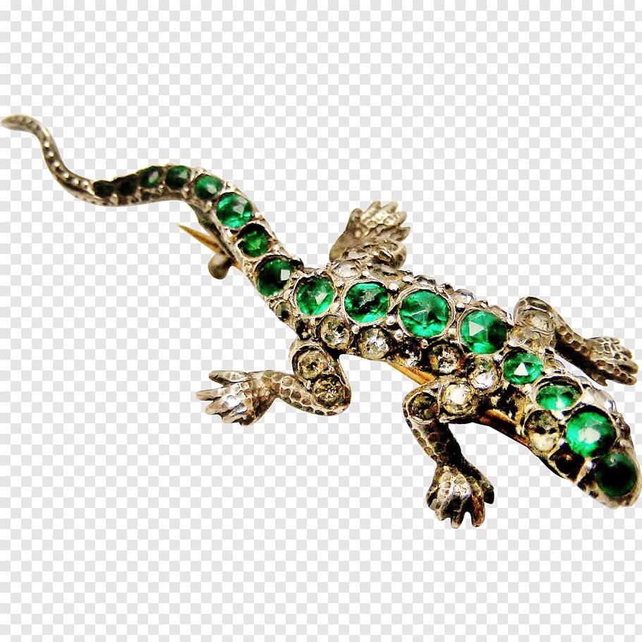 Silver, Gecko, Brooch, Lizard, Jewellery, Emerald, Victorian.