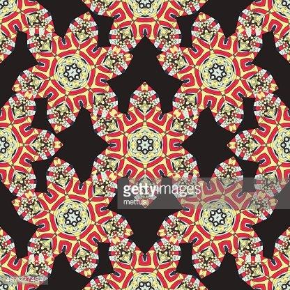 Seamless Stylized flowers. Round frame Mandala. Circular.