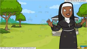 A Happy Black Nun Greeting Everyone A Warm Welcome and A Victorian Park  With Gazebo Background.