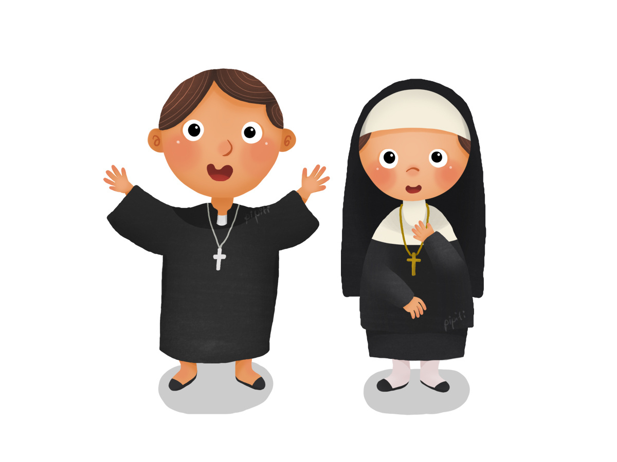 Priest And Nun by Pipit Indah on Dribbble.