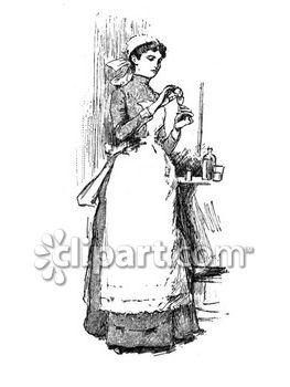Nurse and maid clipart image.