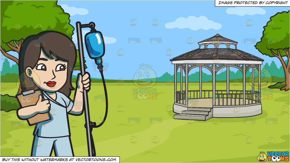 A Female Nurse Transferring An Iv Fluid and A Victorian Park With Gazebo  Background.