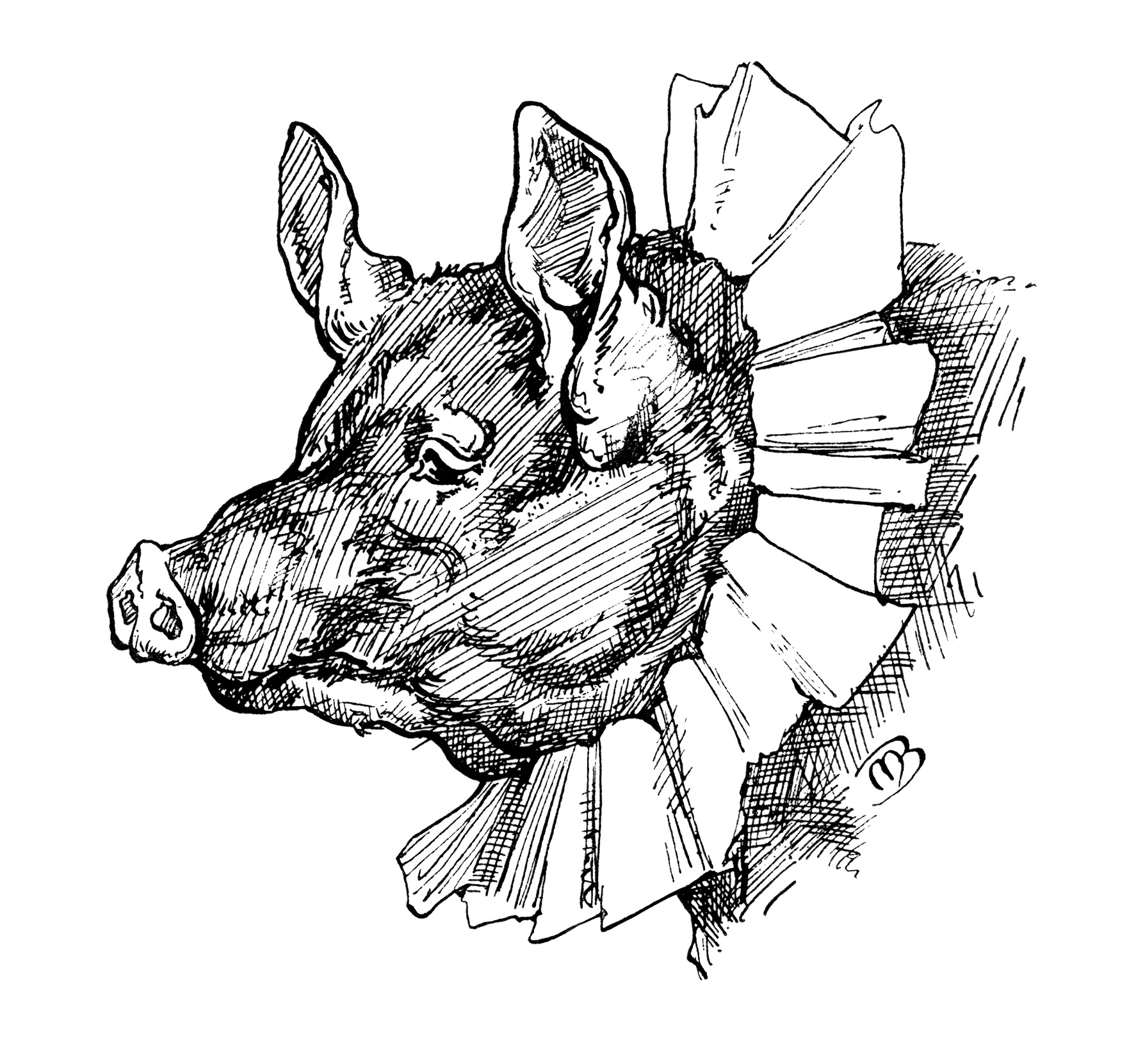 Whimsical Storybook Pig ~ Free Vintage Clip Art.