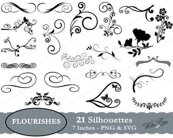 Flourish SVG, Swirl SVG Silhouette Clip Art, Embellishment.