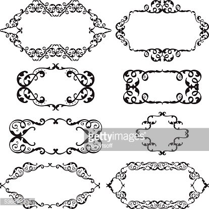Victorian swirl set Clipart Image.
