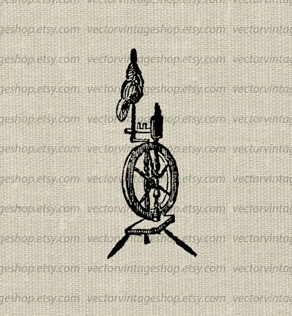 Spinning wheel vector graphic instant download, Victorian.