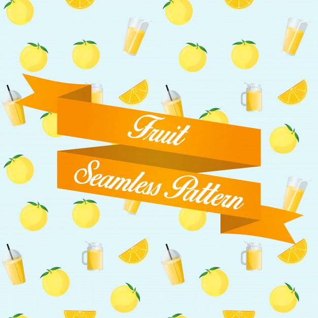 Yuzu fruit juice seamless pattern background Vector.