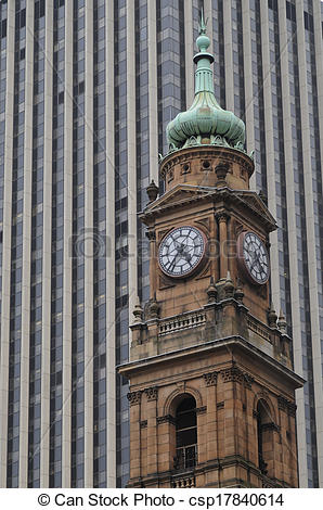 Stock Photography of Old Victorian clock tower in Sydney Central.