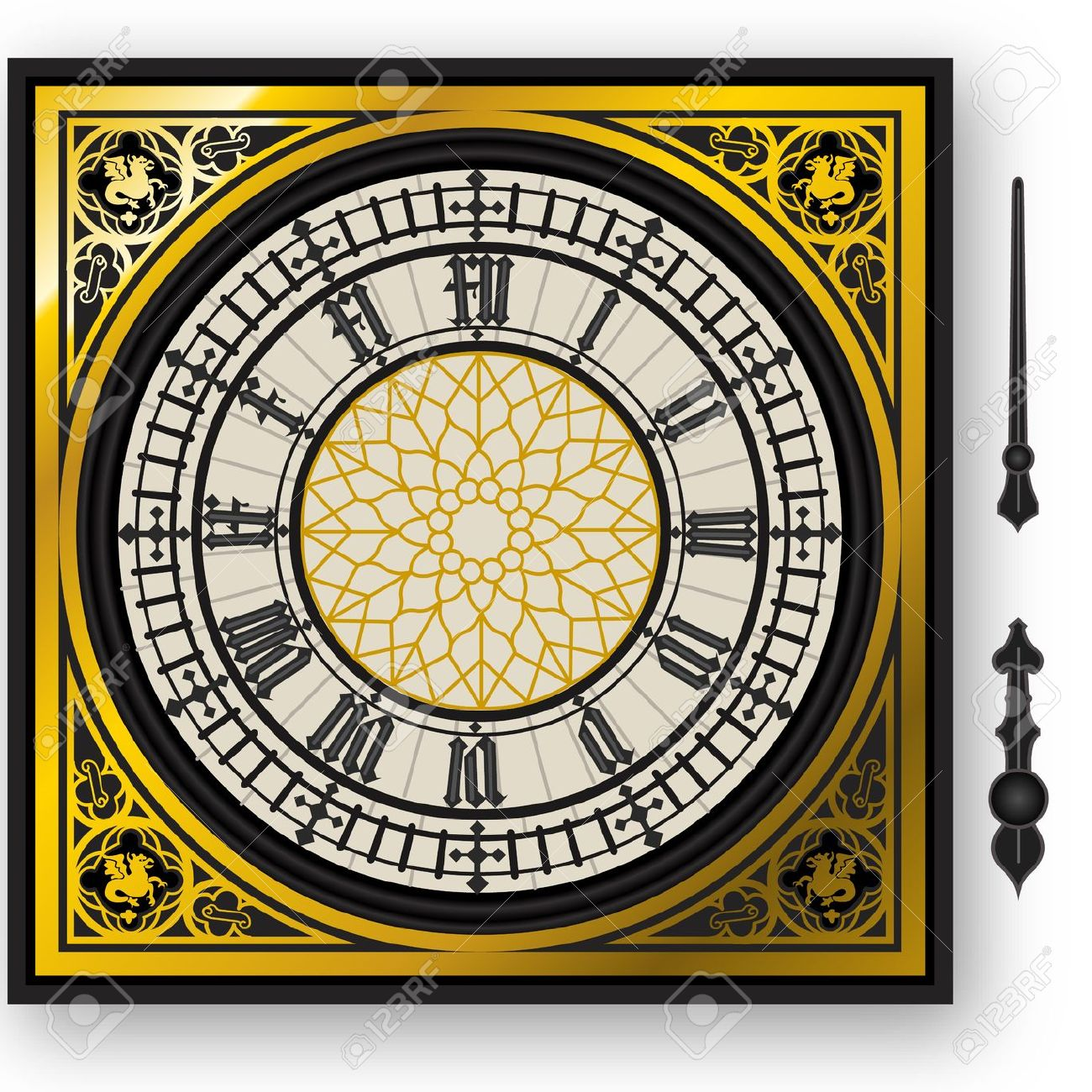 Illustration Of A Quadrant Of Victorian Clock With Lancets Royalty.