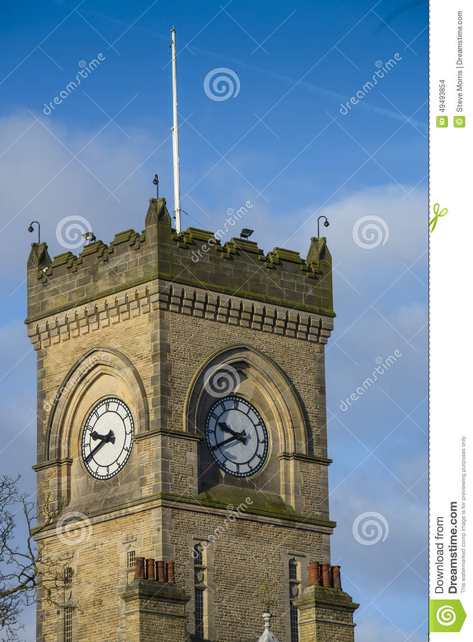 Victorian Gothic Style Clock Tower Architecture Stock Photo.