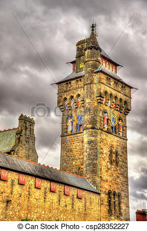 Stock Photo of Victorian Clock Tower of Cardiff Castle.