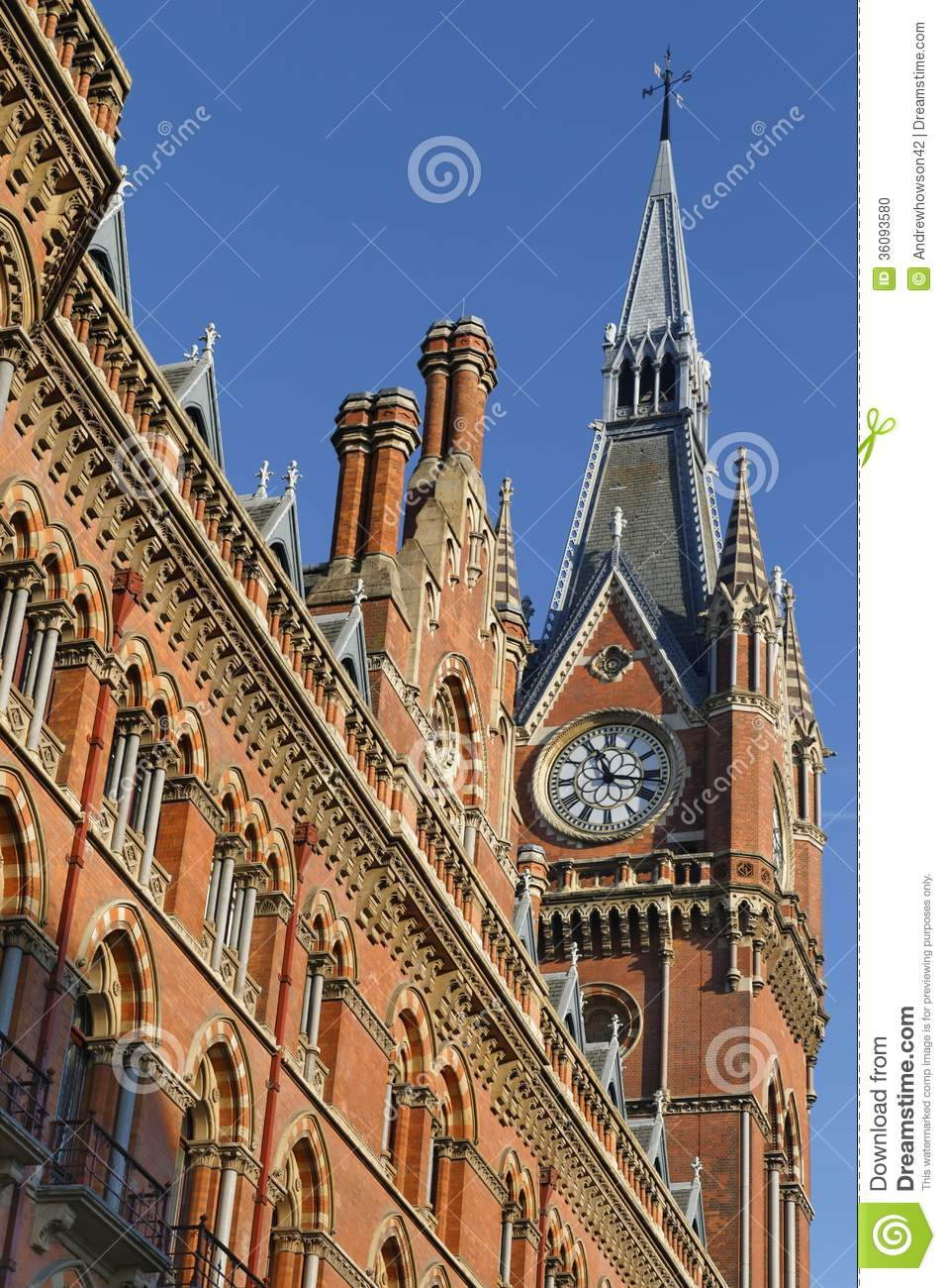 Victorian Clock Tower Stock Photo.