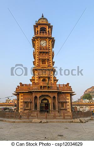 Stock Photo of famous victorian clock tower in Jodhpur, India.
