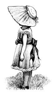 Victorian girl, vintage sunbonnet clipart, black and white.