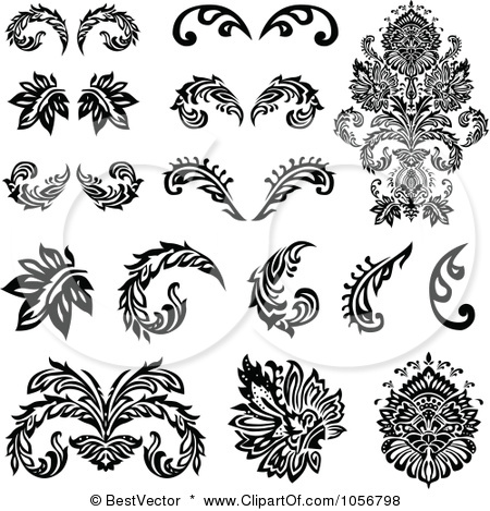 12 Victorian Flowers Clip Art Free Vector Image Images.