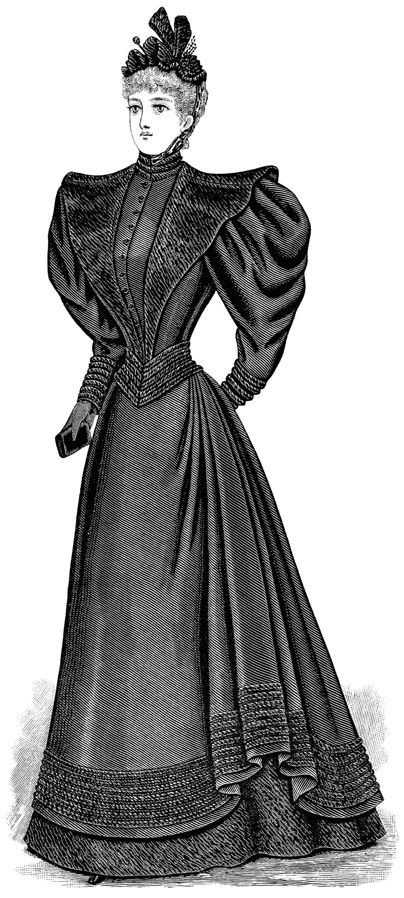 Victorian lady clip art, antique mourning dress, black and.