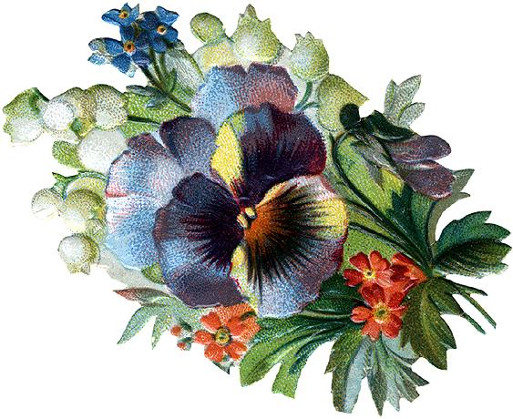 Victorian Flowers Clip Art.
