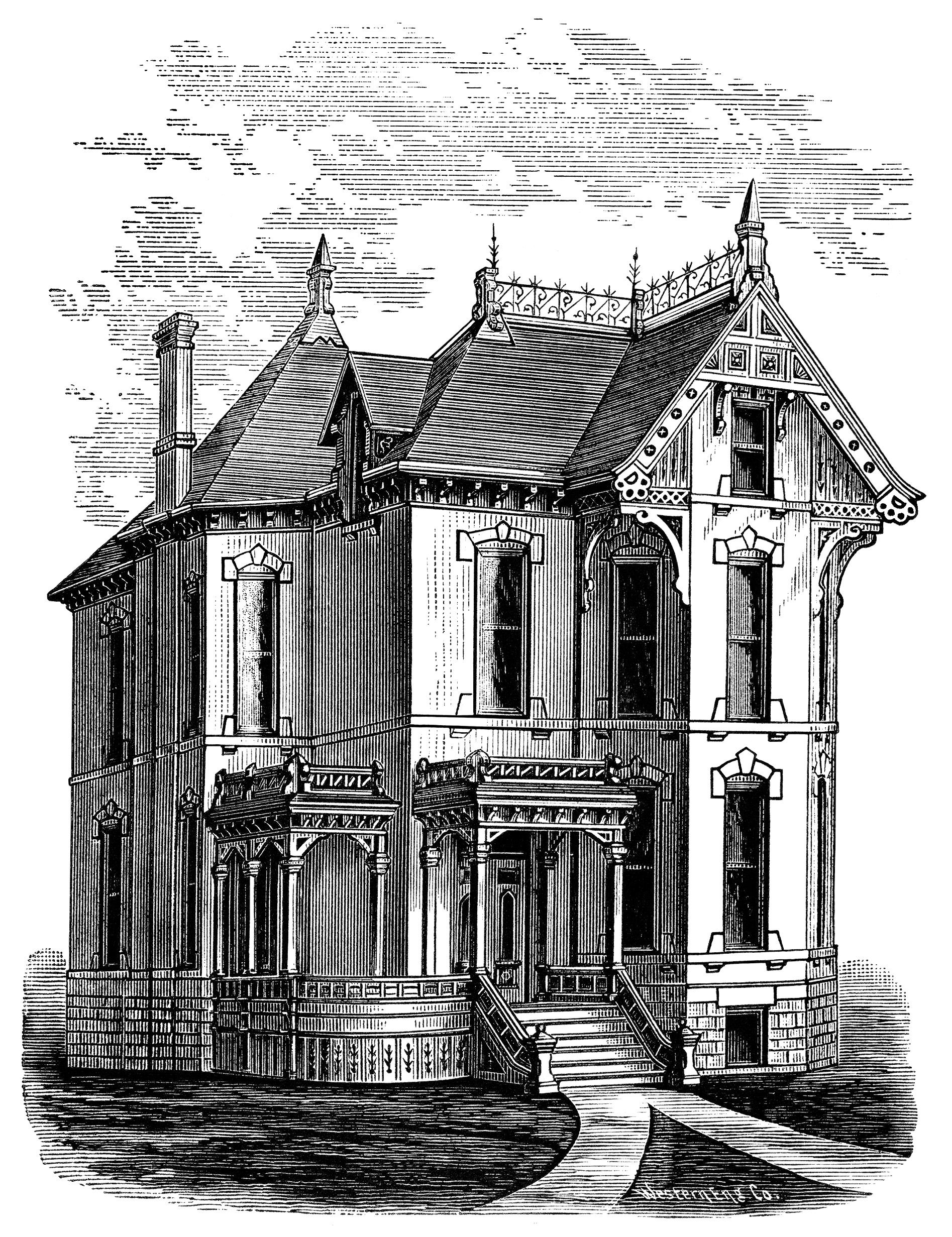 Victorian home clip art, haunted house illustration, spooky.