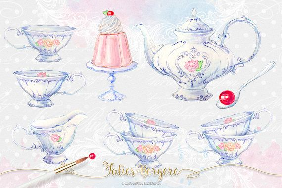Tea Clipart Watercolor Tea Party Clipart High Tea Invitation.