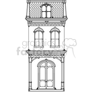 Victorian Town House clipart. Royalty.