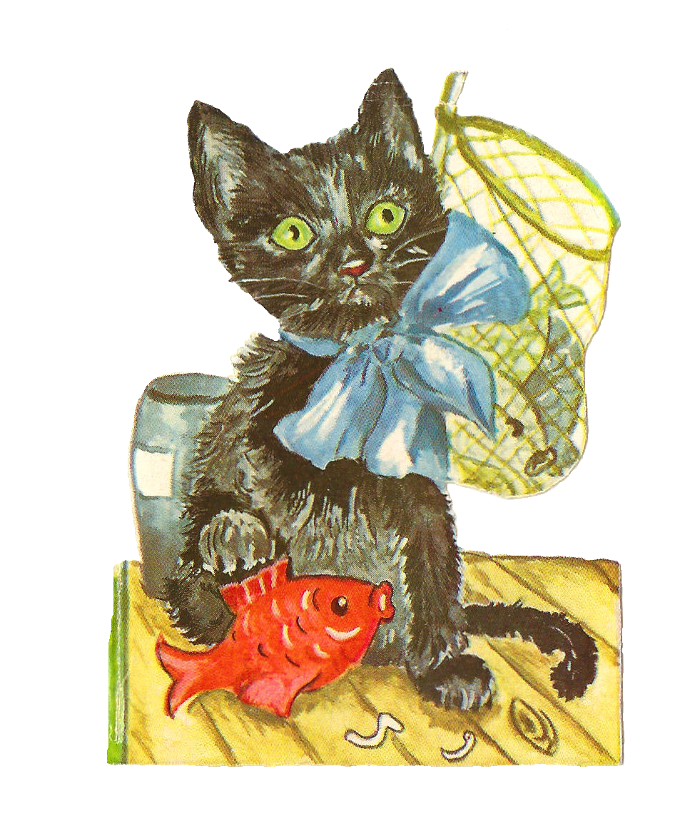 Antique Images: Free Animal Graphic: Antique Black Cat Clip.