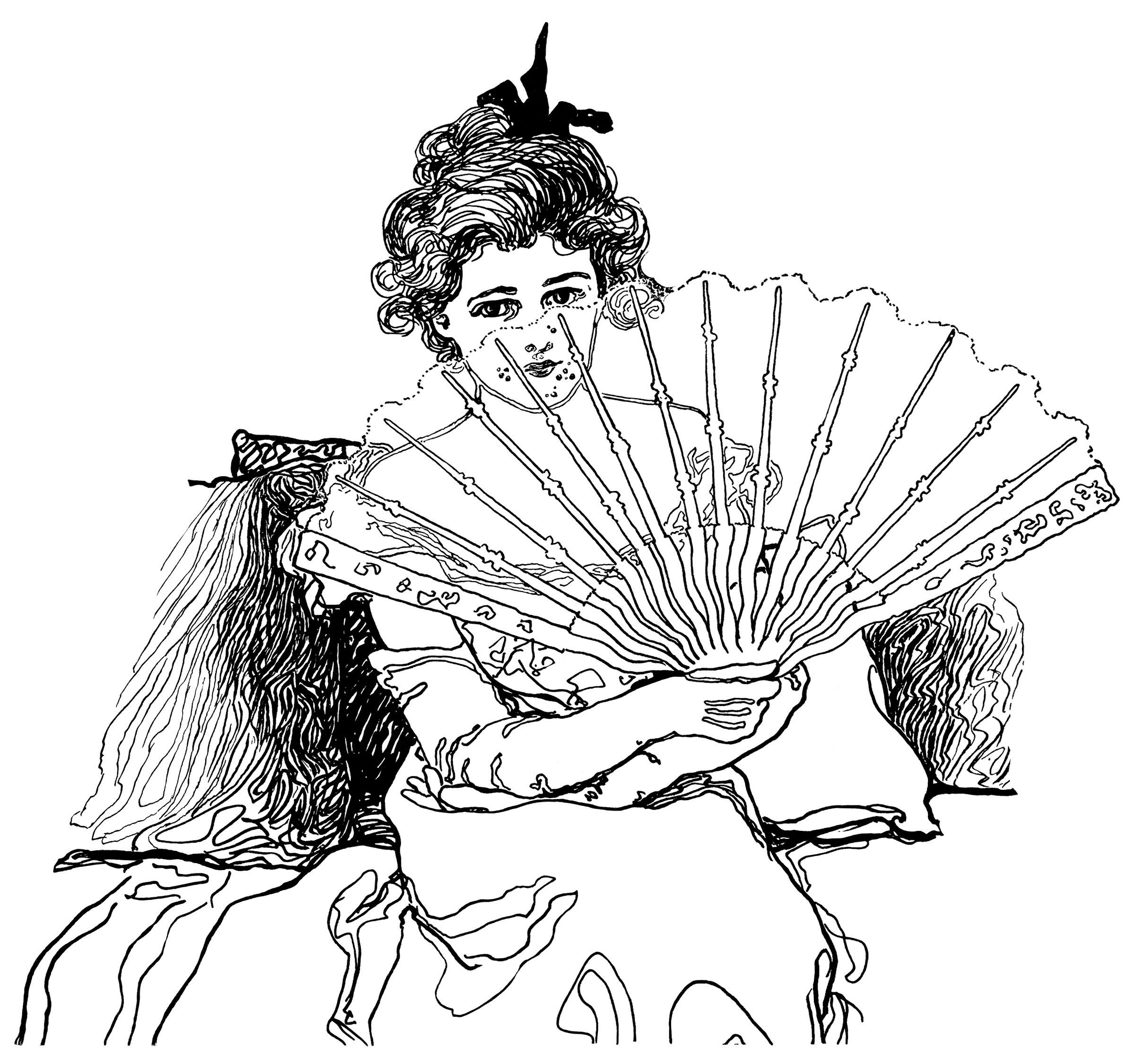 Victorian Lady Holding Fan ~ Free Clip Art.