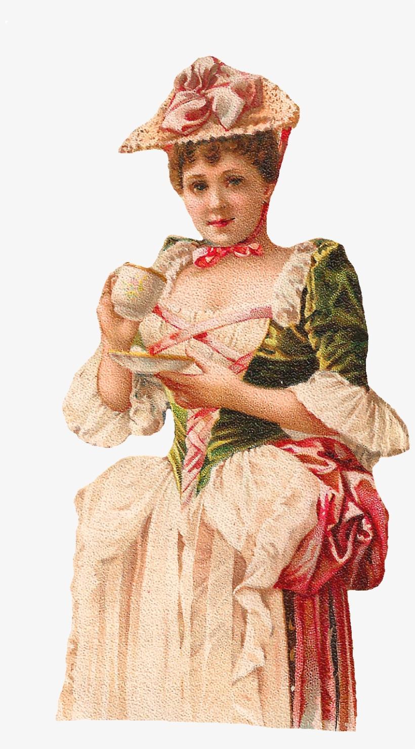 Woman Drinking Tea Clip Art.