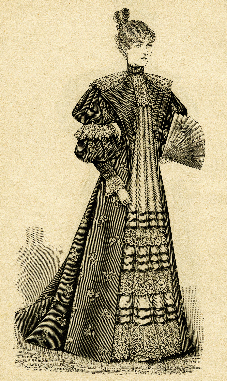 Victorian Ladies\' Tea Gown 1895 ~ Free Clip Art.
