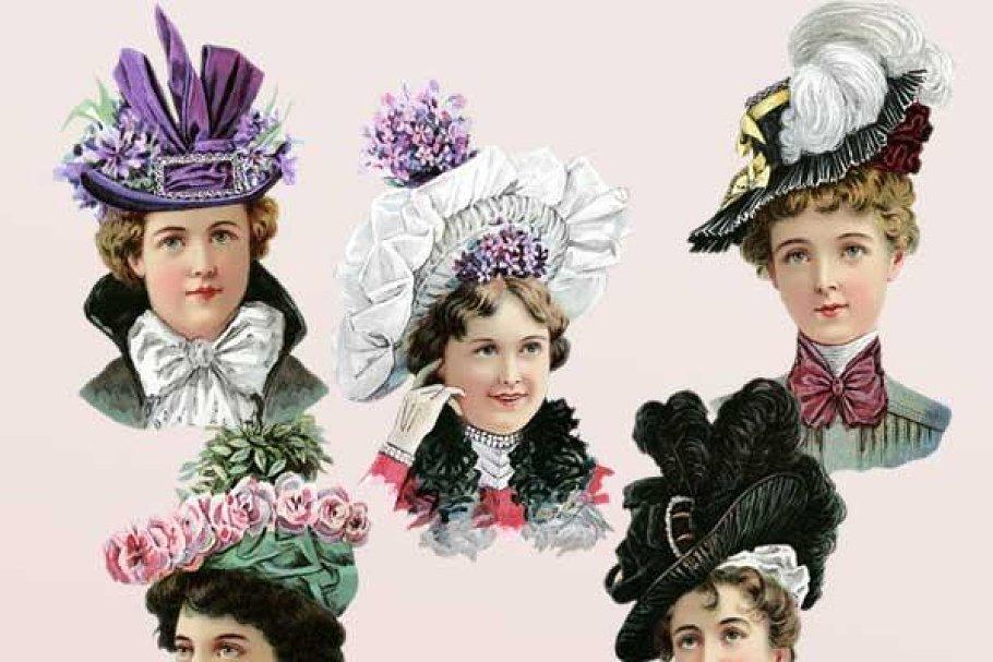 Victorian Women in Hats Clipart Set.