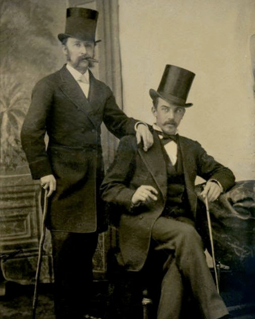 Two Dapper Men with Mustaches Edwardian Victorian Top Hats.