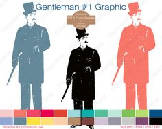 VICTORIAN MAN Clipart Commercial Use Clipart Mustache Graphic 2016.