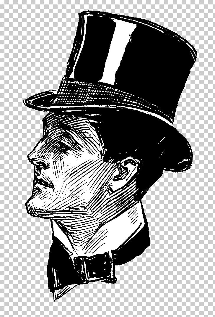 Man With Victorian Top Hat Sideview, man wearing hat.
