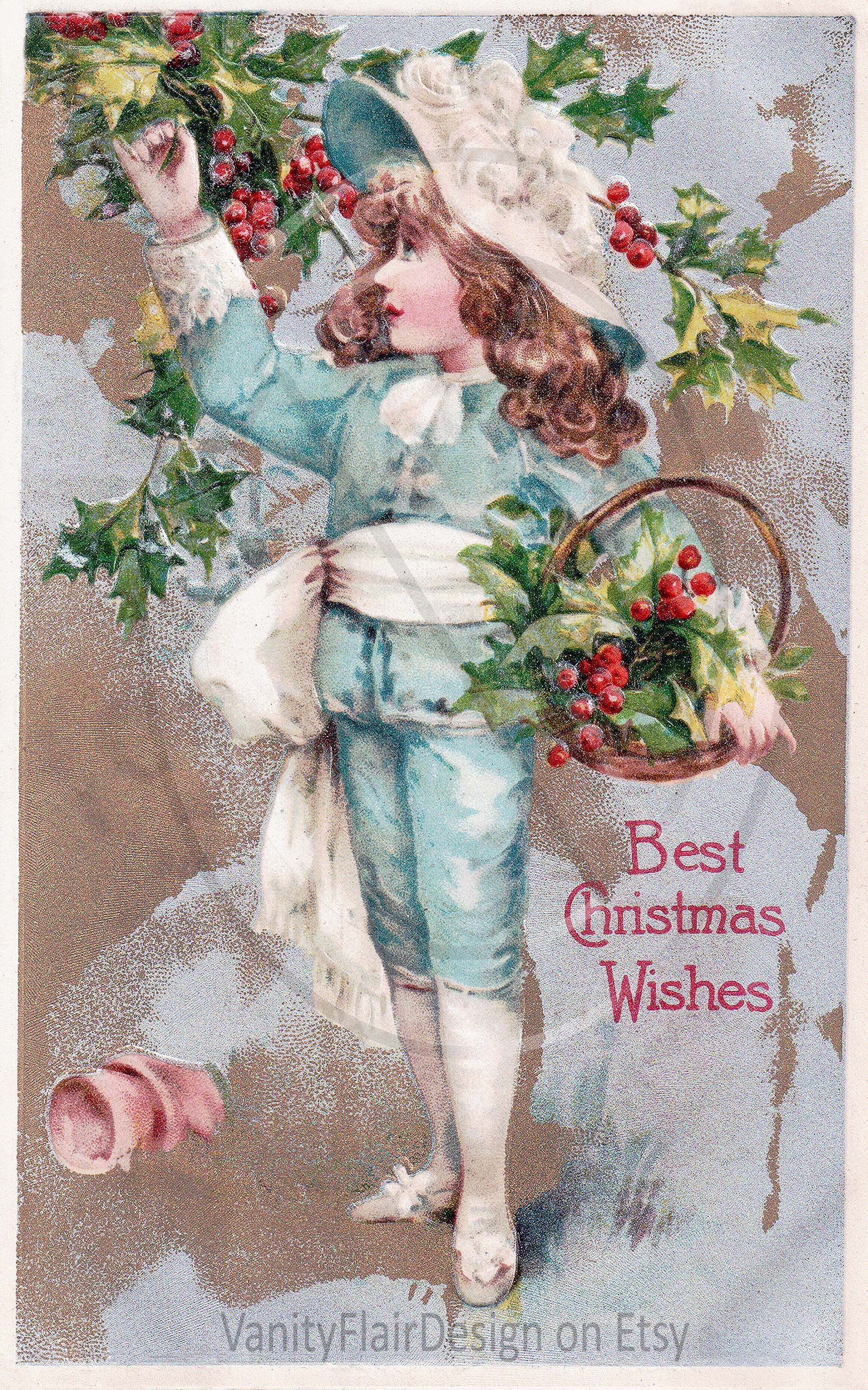 200 Digital Vintage Victorian Christmas Post Card Fronts/ 10.