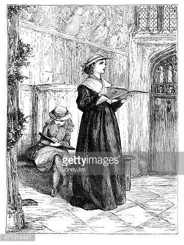 Girl Wearing Victorian Clothing Singing IN Church 1867.