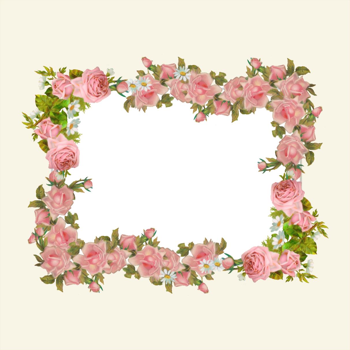 Free digital vintage rose frame and scrapbooking paper.