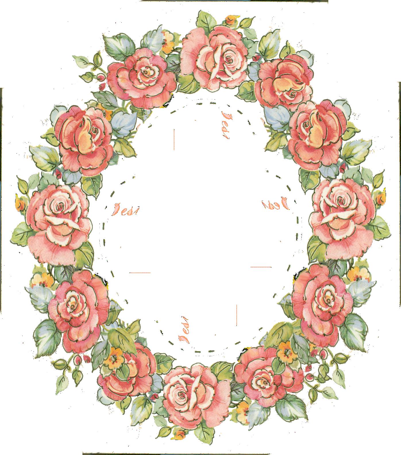 digital vintage rose frame; free download.
