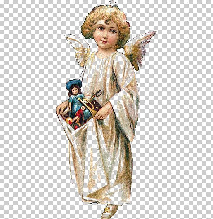 Victorian Era Cherub Santa Claus Angel Christmas PNG.