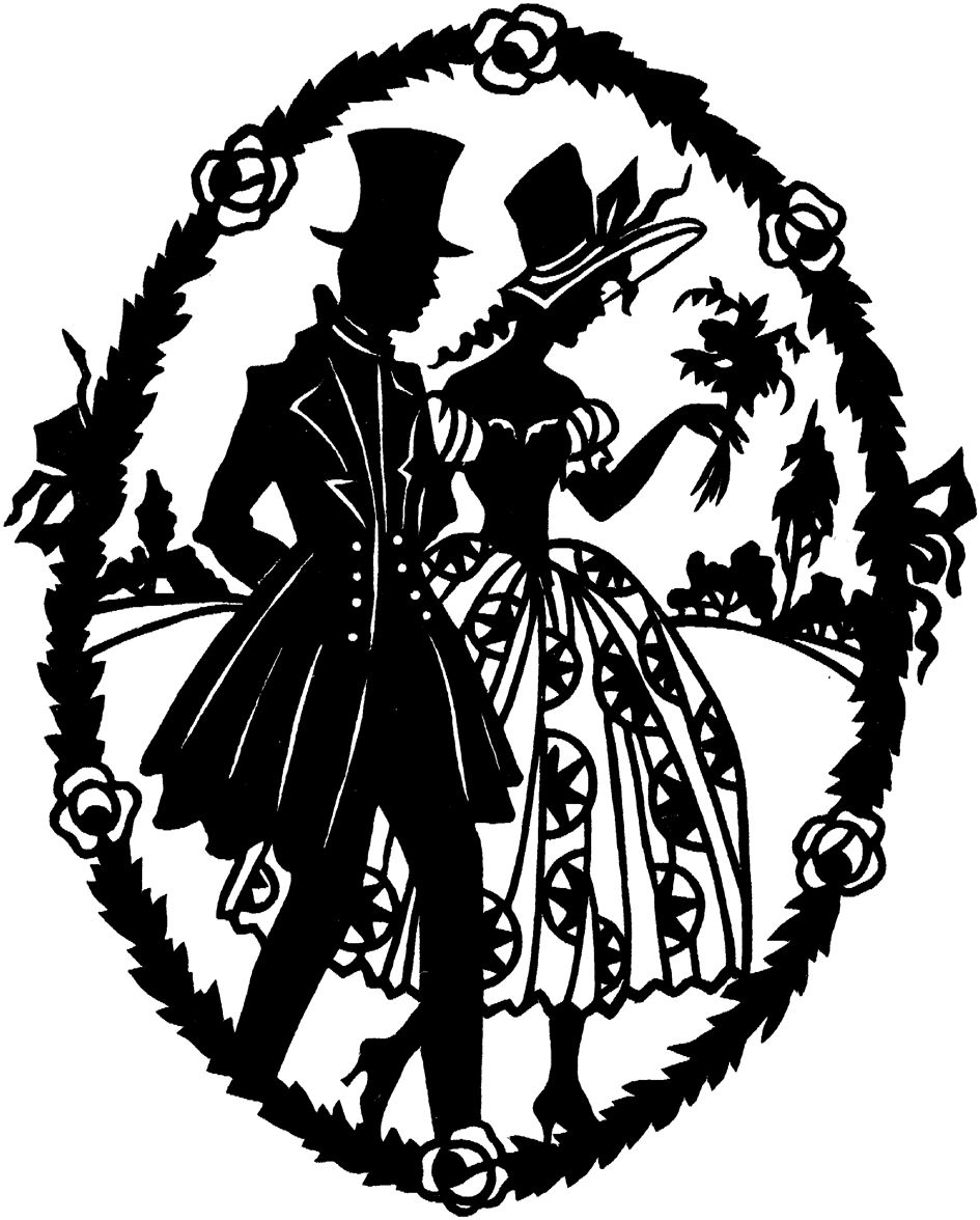 Silhouettes, old, old fashion, romantic, victorian.