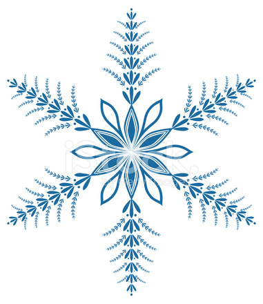 Ornate Victorian Style Blue Snowflake Stock Vector.