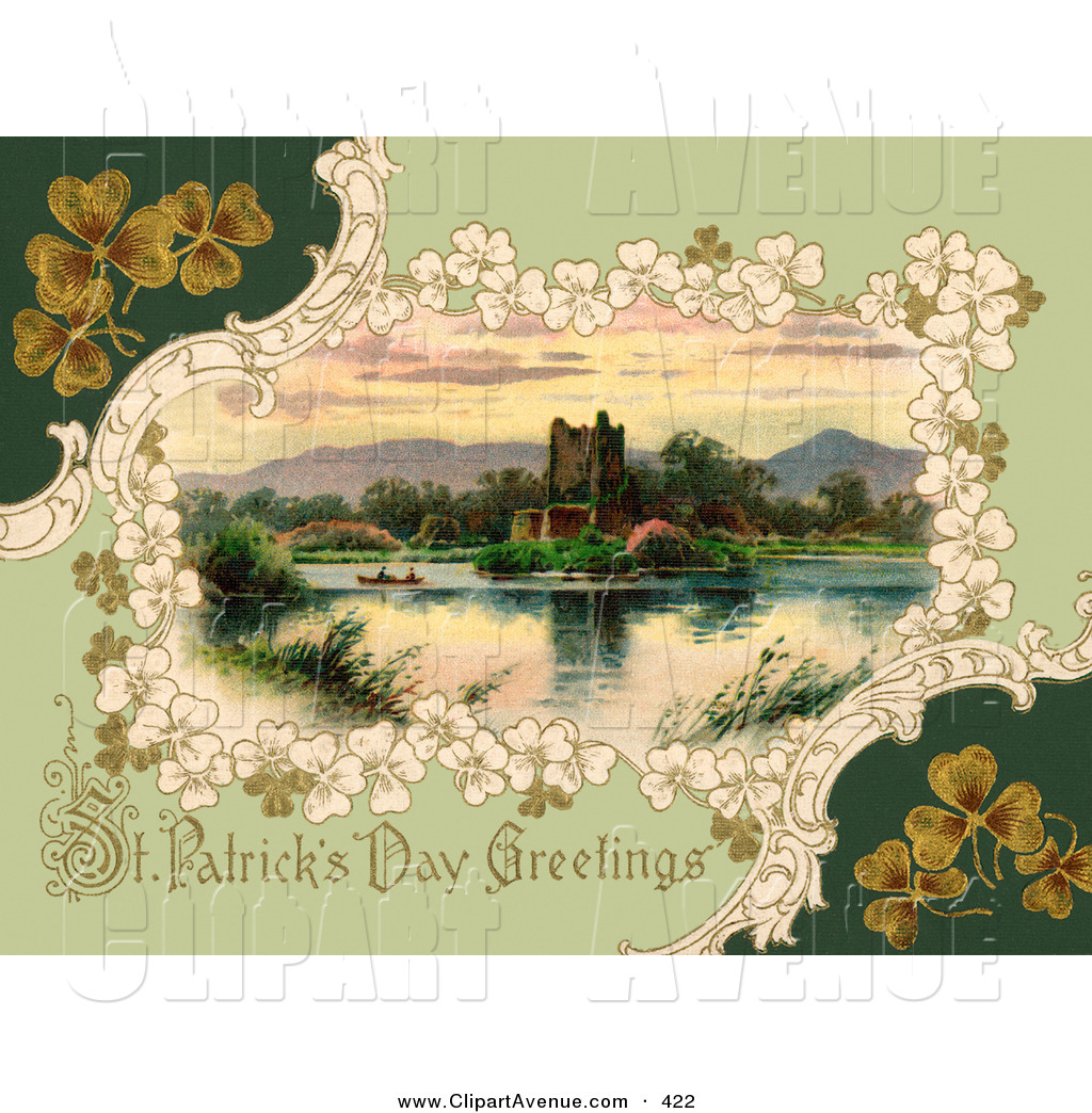 Avenue Clipart of a Pretty Vintage Victorian St Patrick by.